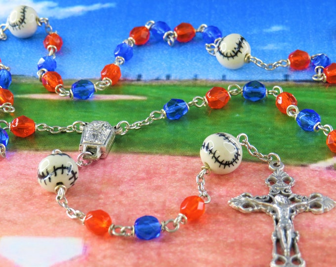Baseball Blue and Orange Rosary - Czech Blue & Orange Crystal Beads - Ceramic Baseballs - Center Contains Lourdes Water - Filigree Crucifix