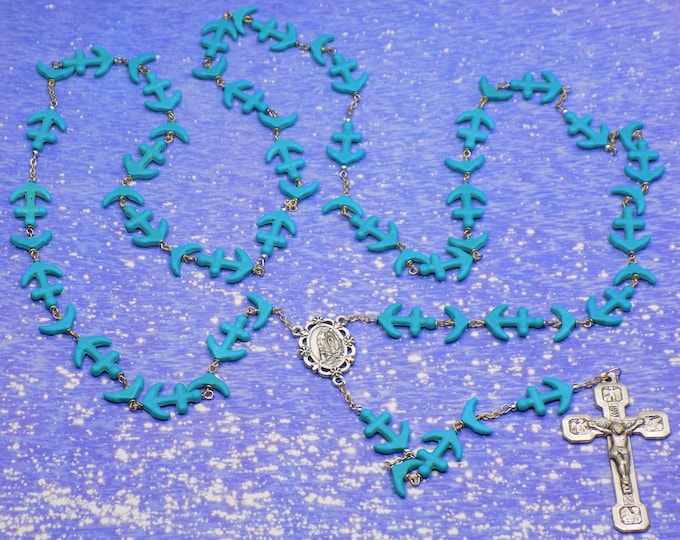 Anchor and Whale Tails Rosary - Turquoise Anchor and Whale Tail Beads - Our Lady of Lourdes Center - Stations of the Cross Crucifix