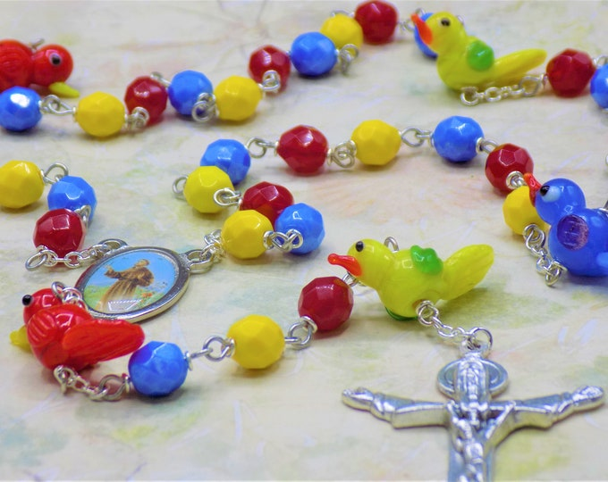 Glass Bird Rosary - Multi Color Lamp Glass Bird Beads - Czech Crystal Beads - Italian St Francis Center - Italian Holy Trinity Crucifix
