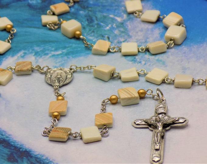 Seashell Rosaries - Natural Hand Cut Sea Shell Beads - Czech Gold Glass Pearl Beads - Italian Mary & Angel Center - Italian Angel Crucifix