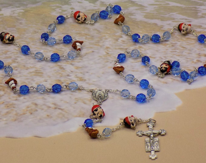 Pirates & Pirate Ship Rosary - Czech Blue Beads - Peru Ceramic Pirate Ship and Pirate Beads - Italian Angels Center -Italian Angels Crucifix