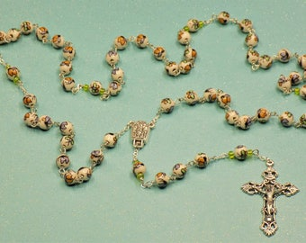 Butteryfly Rosary - White Porcelain Beads Hand Painted with Colorful Butterflies - Water from Fatima, Portugal Center - Italian Crucifix