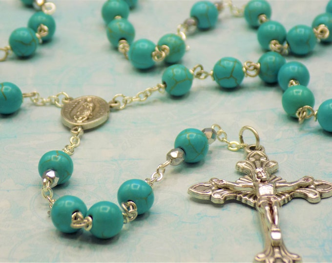 Turquoise Stone Rosary - Turquoise Magnesite Gemstone Beads - Italian Silver Our Lady of Guadalupe Center - Italian Silver Sunburst Crucifix