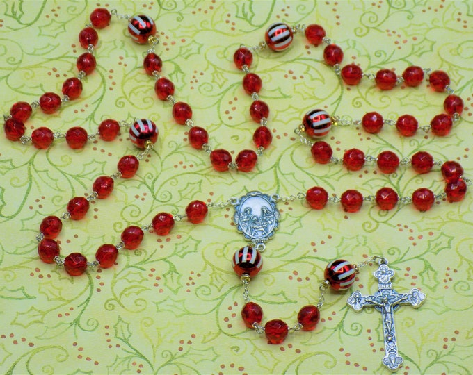 Christmas Rosary - Red and White Christmas Ornament Beads - Czech Red Crystal Beads - Italian Holy Family Center -Italian Eucharistic Center