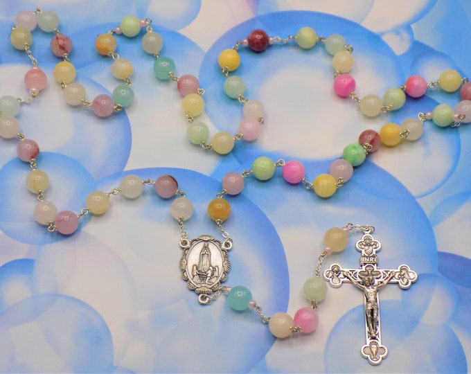Rainbow Quartzite Rosary - Semi Precious Rainbow Quartzite Beads - Italian Our Lady of Fatima Center- Italian Silver Eucharistic Crucifix