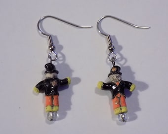 Scarecrow - Spider - Bats  and Pumpkins (3 Different Faces) Earrings