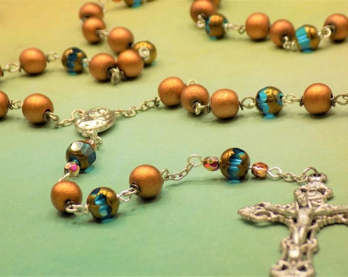 Czech Aqua Crystal and Copper Wood Rosary - Czech Aqua Crystal Beads - Copper Wood 8mm Beads - Mary Relic Center - Italian Filigree Crucifix
