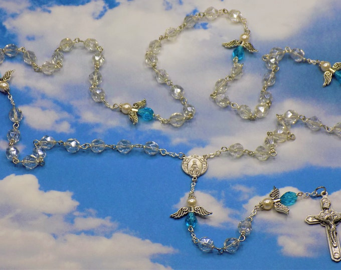 Crystal Angel Rosary - Czech Crystal Luster Beads - Czech Aqua & White Pearl Beads - Italian Mary and Angels Center - Italian Angel Crucifix