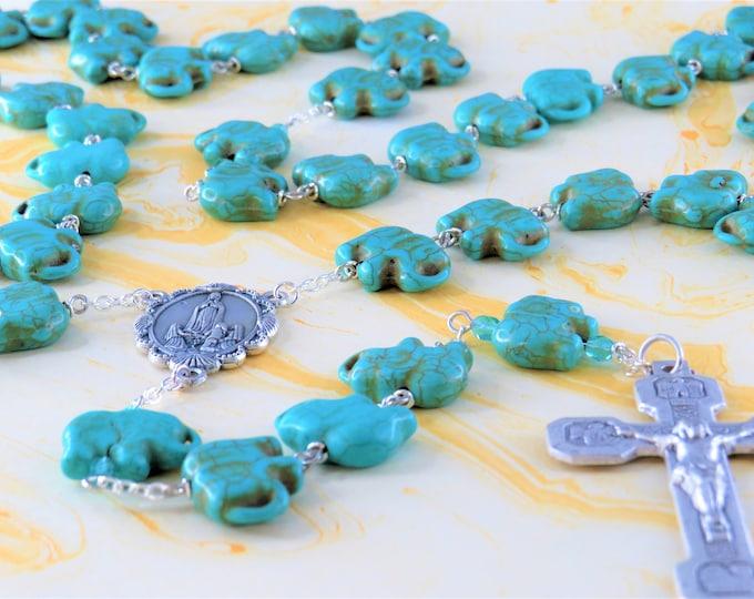 Turquoise Stone Elephant Rosary - Turquoise Stone Elephant Beads - Italian Our Lady of Fatima Center -Italian Stations of the Cross Crucifix