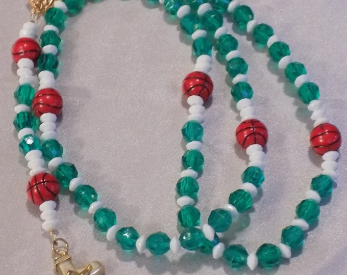 Basketball Sports Rosaries - Green & White - Blue and White - Purple and Gold - Red and Black - Green and Red - Assorted Team Color Rosaries