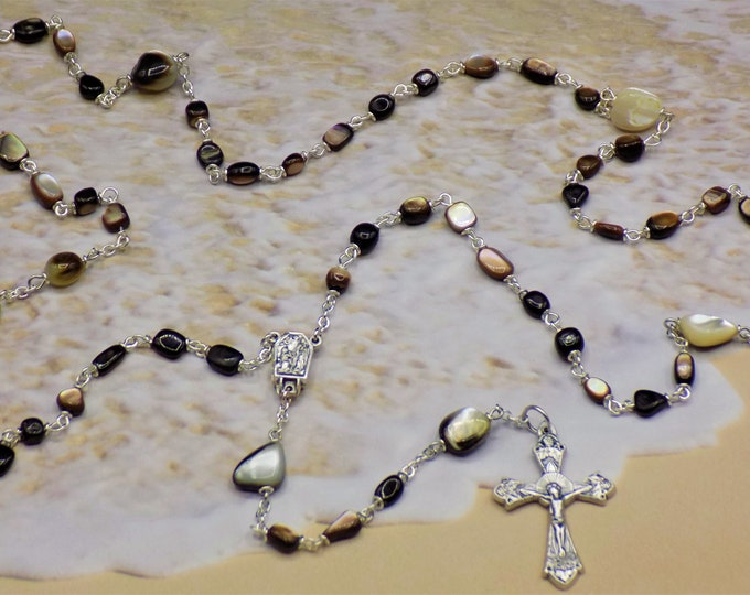 Black Lip Sea Shell Rosary - Natural Black Lip Sea Shell Nugget Beads - Lourdes, France Water Center - Italian Silver Grapes & Vine Crucifix