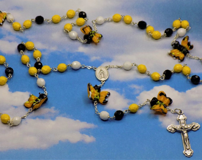 Butterfly Rosary - Czech Crystal Yellow, White & Black Beads - Handmade Butterfly Lamp Glass Beads - Immaculate Mary Center - Heart Crucifix
