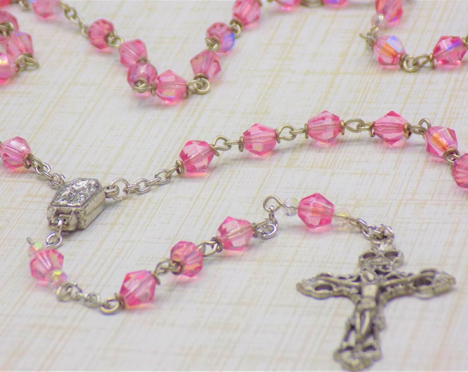 Czech Rose Rosary - Czech Rose (Pink) 6mm Diamond Cut Beads - Italian Silver Center Contains Water from Lourdes - Italian Filigree Crucifix