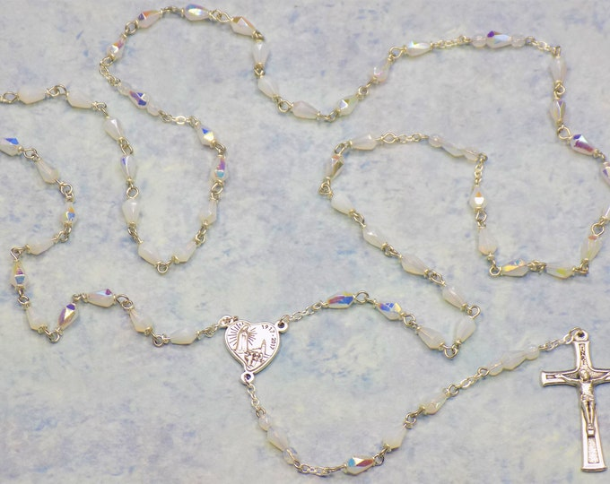 Mary's Tears White Opal Rosary - Czech White Opal Teardrop Crystal Beads - Italian Silver Fatima 100th Anniversary Center and Crucifix