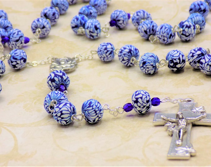 Blue Hawaiian Flower Rosary - Blue & White Hawaiian Flower Polymer Clay Beads - Italian Rose and Mary Center -Italian Silver Flower Crucifix