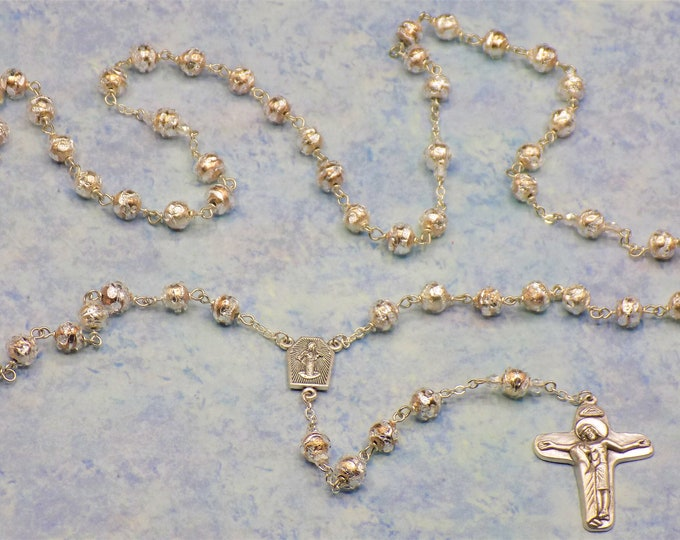 Silver Foil and Crystal Rosary - Silver Foil and Crystal Glass Beads - Italian Silver Medjugorje Center - Italian Mary & Jesus Crucifix