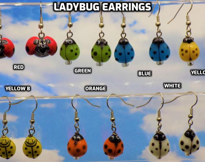 Ladybug Earrings - Red - Green - Blue - Yellow (2) - Orange - White - 6 Different Colors & Styles to Choose From