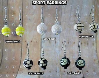 Sports Earrings - Tennis Balls - Golf Balls - Volleyballs - Soccer Balls - Eight Balls - 5 Different Styles to Choose From