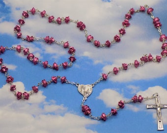 Rose Flower Rosaries - Pink or Gold Metal Rose Flower Beads - Czech Glass Pearl Beads - Our Lady of Fatima Crucifixes & Centers