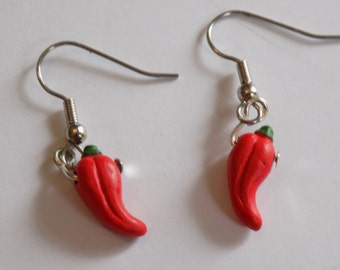 Fruits and Vegetable Earrings - Red Chili Peppers - Red Apples - Purple Grapes - Strawberries - 4 different Styles to Choose From