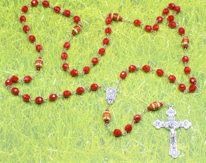 Football Rosaries - Czech Opaque Red or Blue Opal Glass Beads - Ceramic Footballs - Water from Lourdes Italian Centers - Italian Crucifixes