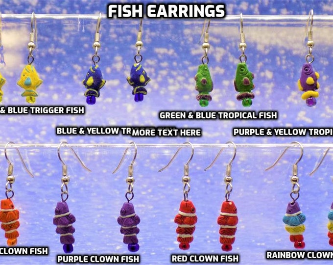 Peru Ceramic Fish Earrings - Yellow or Blue Trigger Fishes - Green or Purple Tropical Fishes - Orange, Red, Purple or Rainbow Clown Fishes