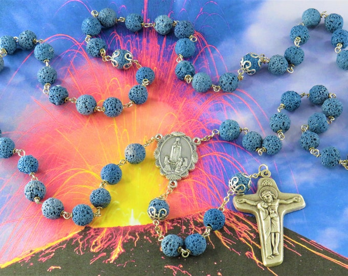 Blue Lava Rock Rosary - Blue Lava Rock Gemstone Beads-Silver Caps-Italian Silver Our Lady of Fatima Center-Italian Sorrowful Mother Crucifix