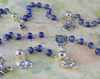 Cat Rosary - Purple Miracle Fiberglass Beads - Pewter Father Beads - Silver Cat Charms -Italian Medjugorje Center -Italian Sunburst Crucifix
