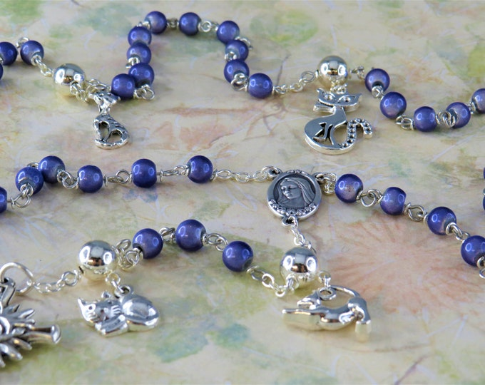 Cat Rosary - Purple Miracle Fiberglass Beads - Pewter Father Beads - Silver Cat Charms -Italian Medjugorje Center -Italian Sunburst Crucifix