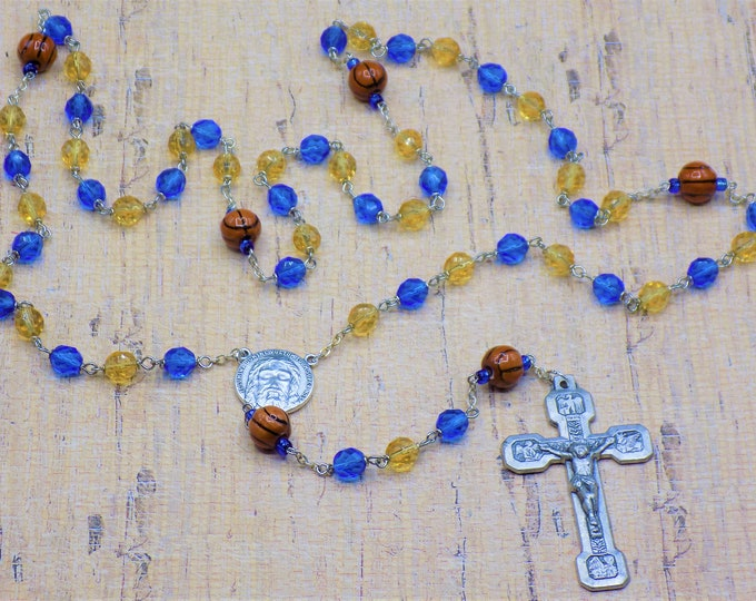 Basketball Rosaries - Czech Blue & Gold or Purple and Gold Glass Beads - Ceramic Basketballs - Italian Holy Face Center - Italian Crucifix