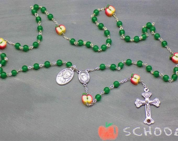 Teacher Rosary - S/P Green Candy Jade Beads - Polymer Apple Beads - Medjugorje Center - Rome Crucifix - St John Baptist De La Salle Medal