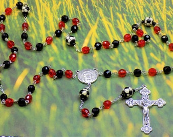 Soccer Rosary - Czech 8mm Opaque Black & Red Glass Beads - 10mm Ceramic Soccer Balls - Italian Holy Face Center - Italian Silver Crucifix