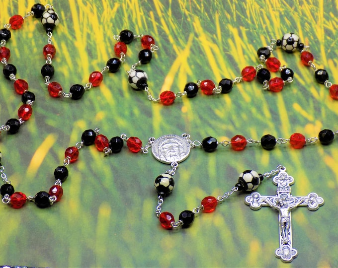 Soccer Rosary - Czech 8mm Opaque Black & Red Glass Beads - Ceramic Soccer Balls - Italian Holy Face Center - Italian Eucharistic Crucifix