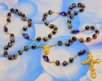 Blue Cloisonne Rosary - Royal Blue 8mm Cloisonne Metal Beads - Italian Our Lady of Lourdes Water Center - Italian Filigree Crucifx