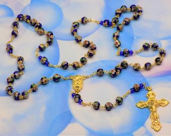 Blue Cloisonné Rosary - Royal Blue 8mm Cloisonné Metal Beads - Italian Our Lady of Lourdes Water Center - Italian Filigree Crucifix