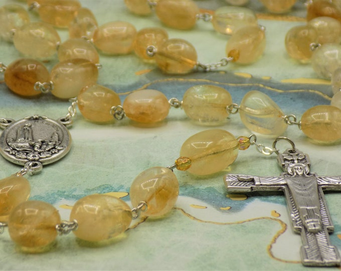 Citrine Rosary - Semi Precious Citrine Nugget Beads - Czech Yellow Accent Beads - Fatima with Earth Center -Italian Christ Redeemer Crucifix