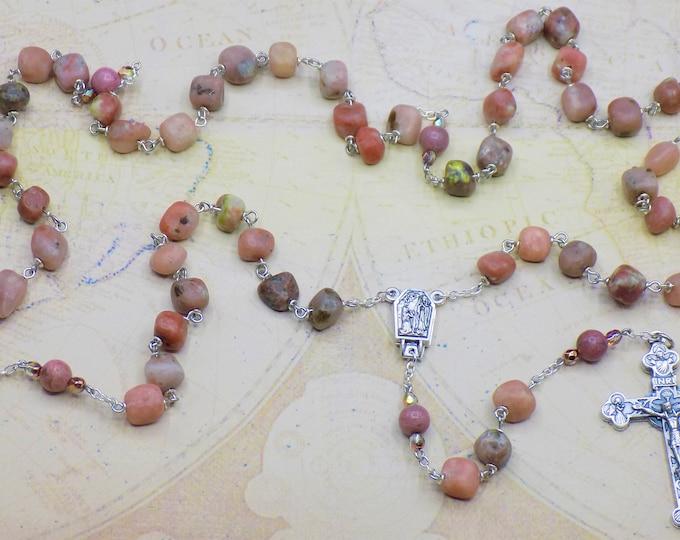 Pink Lepidolite Rosary - Semi Precious Pink Lepidolite Beads - Pink Rhodonite Beads - OL of Lourdes Water Center -Italian Eucharist Crucifix