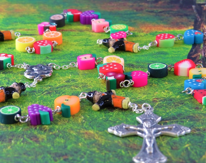 Bountiful Harvest Rosary - Polymer Clay Fruit Beads - Scarecrow Ceramic Beads - Italian Rose & Mary Center -Italian Grapes and Vine Crucifix