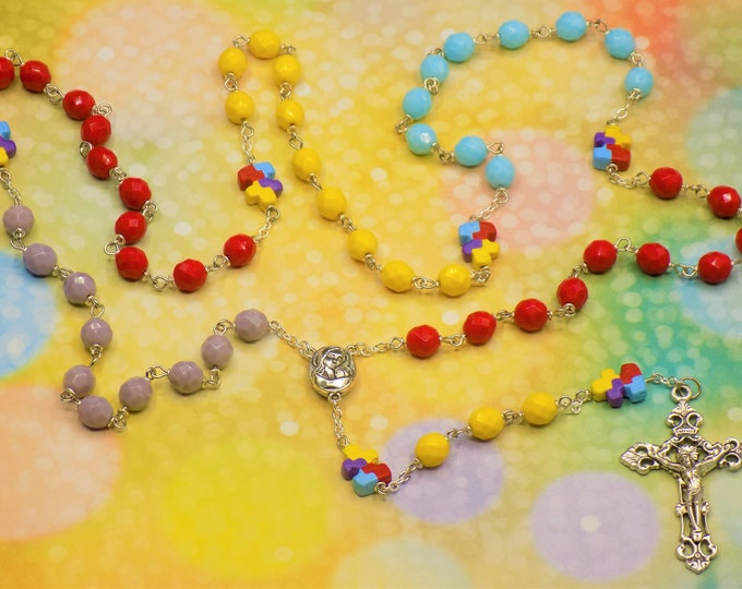 Puzzle Piece Rosary - Czech Opaque Red, Blue, Yellow and Purple Beads - Ceramic Puzzle Piece Beads - Mary Center - Italian Filigree Crucifix