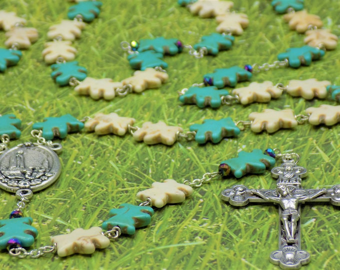 Teddy Bear Stone Rosaries - White and Turquoise Teddy Bear Stone Beads - Fatima or Holy Family Centers - Eucharistic or Stations Crucifixes