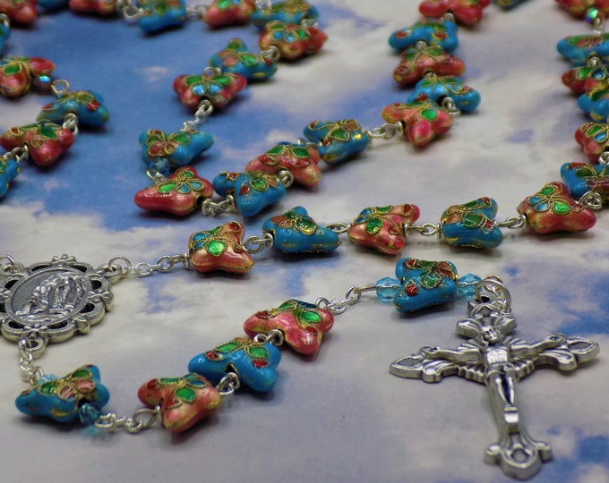 Turquoise & Pink Cloisonné Butterfly Rosary - Turquoise and Pink Cloisonné Butterfly Metal Beads - Lourdes Center - Sunburst Flare Crucifix
