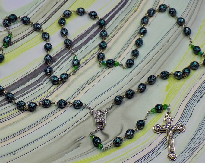 Speckled Glass Rosaries - Czech Speckled Black and Silver or Green & Gold 8mm Glass Beads -  Water from Lourdes Centers - Italian Crucifixes