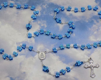 Blue Butterfly Rosary - Colorful Blue Butterfly Polymer Clay Beads - Czech Beads -  Italian Mary Center - Italian Grapes & Vine Crucifix