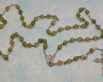Rosaline Green Rosebud Rosary - Czech Matte Rosaline Green Picasso Rosebud 8mm Glass Beads - Lourdes, France Center - Filigree Crucifix