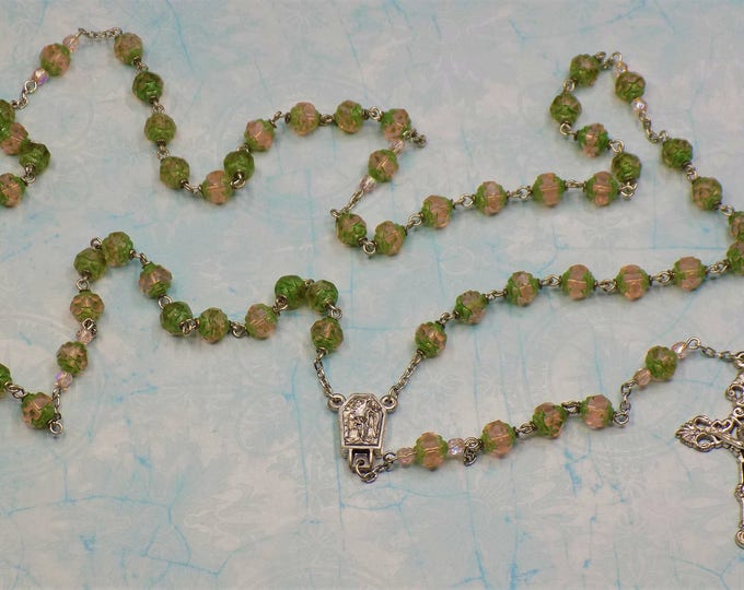 Rosaline Green Rosebud Rosary - Czech Matte Rosaline Green Rosebud 8mm Glass Beads - Lourdes, France Center with Water - Filigree Crucifix