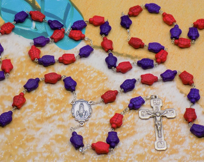 Stone Turtle Rosary - Red & Purple Stone Turtle Beads - Italian Silver Our Lady of Fatima Center - Italian Stations of the Cross Crucifix