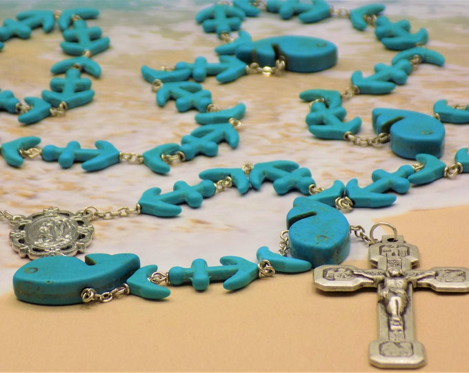 Blue Whale & Anchor Rosary - Turquoise Blue Whale, Whale Tails, Anchor Beads - Our Lady of Lourdes Center - Stations of the Cross Crucifix