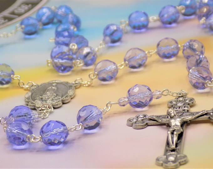 Czech Alexandrite Crystal Rosary - Czech Alexandrite Faceted Crystal Beads - Italian Our Lady of Fatima Center -Italian Eucharistic Crucifix