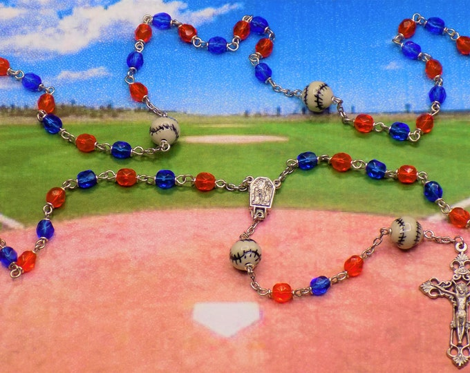 Baseball Rosaries - Czech 6mm Blue/Orange Crystal Beads - Peru Ceramic Baseballs - Centers Contains Water from Lourdes - Filigree Crucifixes