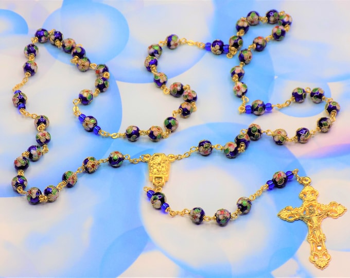 Blue Cloisonné Rosaries - Royal Blue 8mm Cloisonné Metal Beads - Italian Lady of Lourdes Water or Fatima Center - Italian Filigree Crucifix
